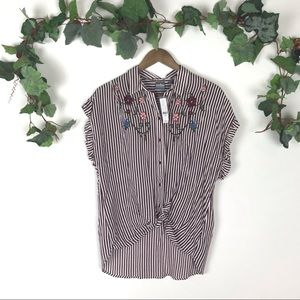 NWT Soho New York & Co Striped Twisted Knot Top